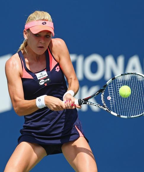 Agnieszka Radwanska of Poland hits a return