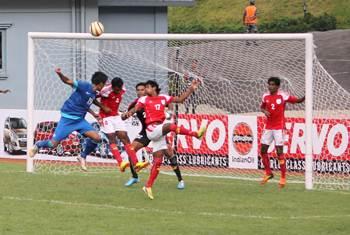 Gouramangi Singh head over the Bangladesh crossbar
