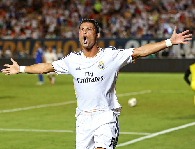 Cristiano Ronaldo of Real Madrid celebrates a goal