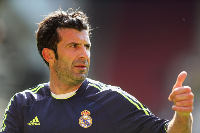 Luis Figo of Real Madrid in action