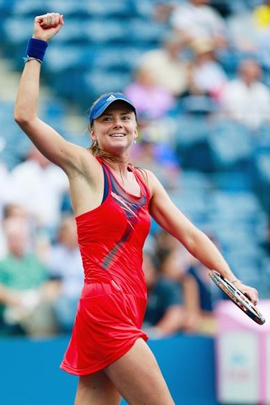 Daniela Hantuchova of Slovakia celebrates winning