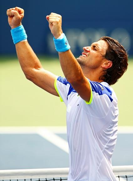David Ferrer of Spain celebrates