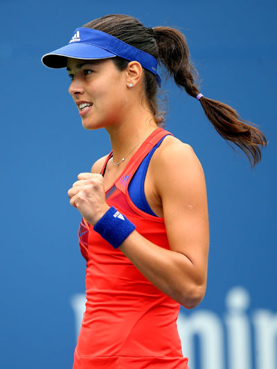 Ana Ivanovic of Serbia reacts during her fourth round women's singles match against Victoria Azarenka of Belarus
