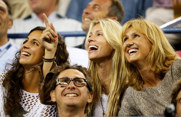 (From left Rafael Nadal of Spain's girlfriend Xisca Perello, sister Isabel Nadal and mother Ana Maria Parera laugh