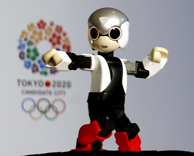 Talking robot Mirata is presented during a news conference in support of the Tokyo 2020 summer Olympics candidacy in Buenos Aires