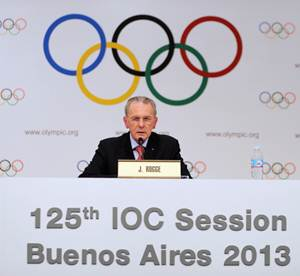 IOC president Jacques Rogge speaks to the press at the 125th IOC Session at Hilton Hotel in Buenos Aires, Argentina