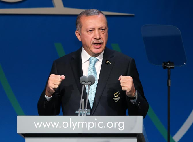 Prime Minister of Turkey Recep Tayyip Erdogan speaks during the Istanbul 2020 bid presentation