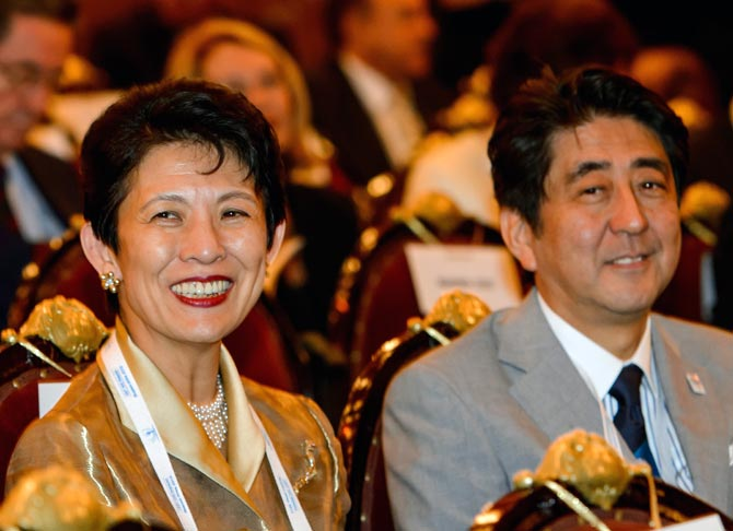 Japanese Princess Takamado (left) with Japanese Prime Minister Shinzo Abe