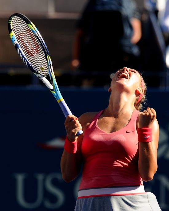 ictoria Azarenka celebrates winning her women's singles semi-final against Flavia Pennetta