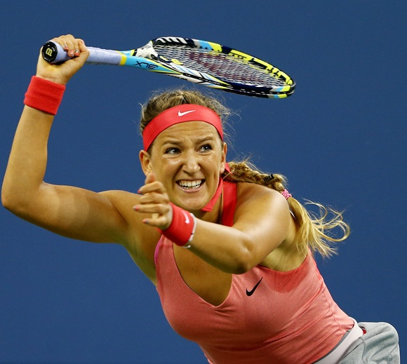 Victoria Azarenka of Belarus returns a backhand