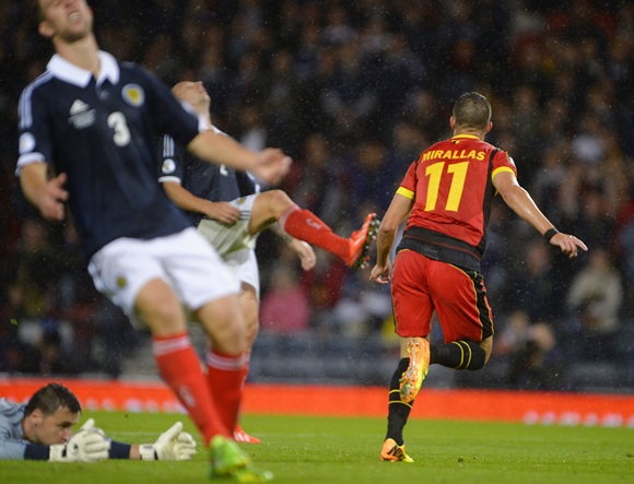 Belgium's Kevin Mirallas (right) celebrates after scoring against Scotland