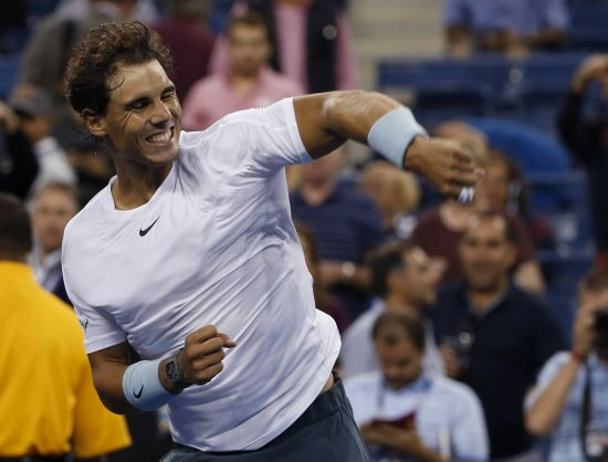 Rafael Nadal of Spain celebrates after defeating Richard Gasquet of France