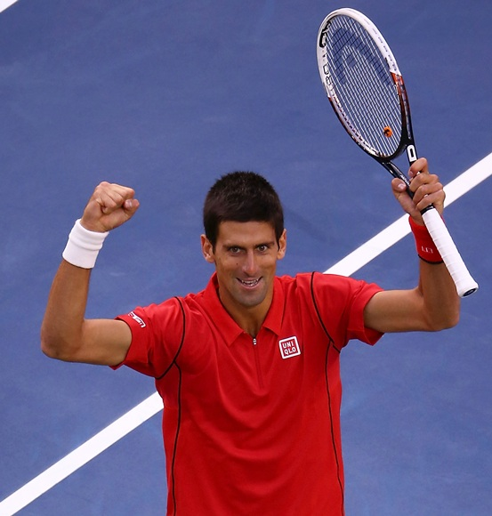 Novak Djokovic of Serbia celebrates a point