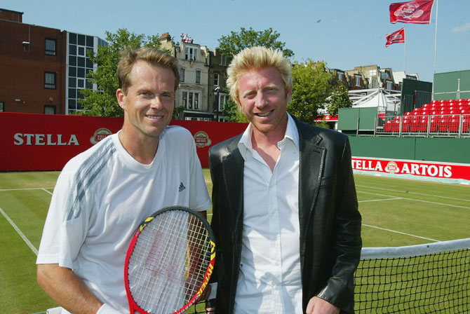 Stefan Edberg of Sweden (left) and Boris Becker of Germany
