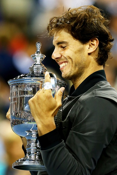 Rafael Nadal of Spain poses with the US Open Championship trophy
