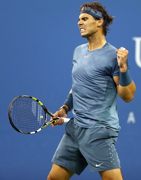 Rafael Nadal of Spain celebrates a point