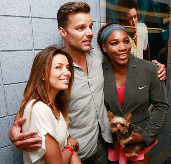 Actress Eva Longoria and musician Ricky Martin celebrate with Serena Williams