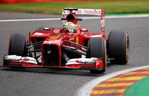 Felipe Massa of Brazil and Ferrari drives during practice for the Belgian Grand Prix