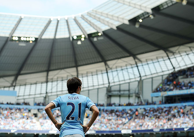 David Silva of Manchester City looks on during the Barclays Premier League match