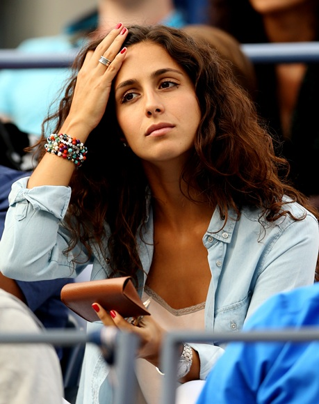 Rafael Nadal of Spain's girlfriend Xisca Perello watches his men's singles match