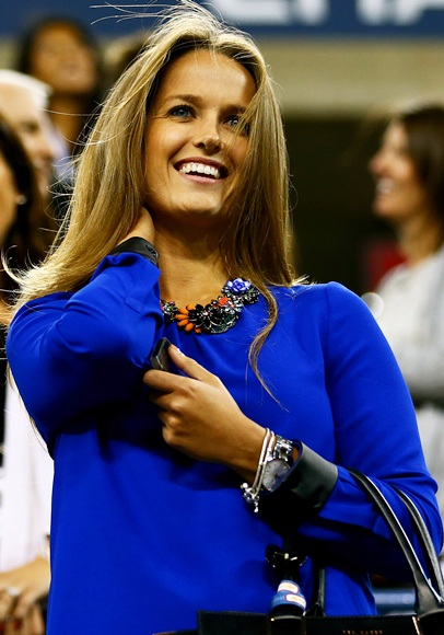 Andy Murray of Great Britain's girlfriend Kim Sears attends his men's singles match