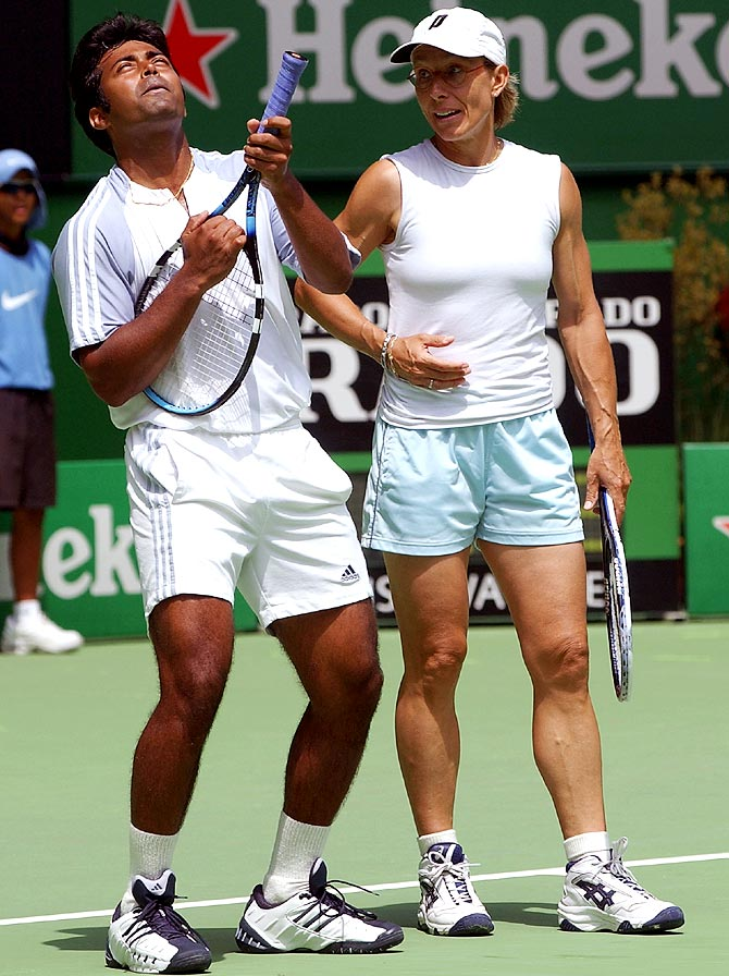Leander Paes (left) with Martina Navratilova