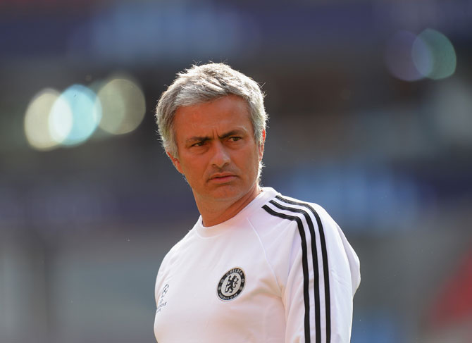 Jose Mourinho the Chelsea coach during a training session
