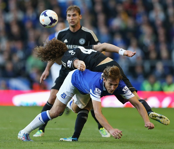 David Luiz of Chelsea tangles with Nikica Jelavic of Everton
