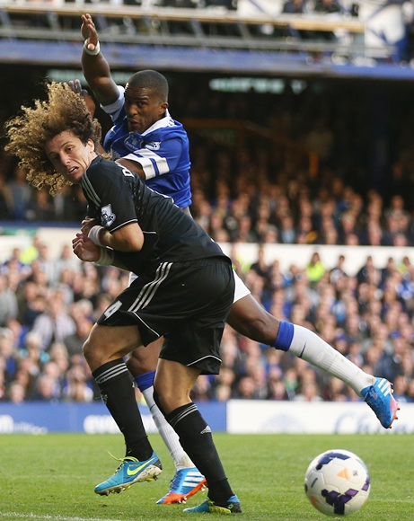 David Luiz of Chelsea competes with Sylvain Distin of Everton