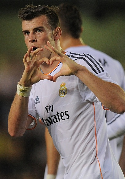 Gareth Bale of Real Madrid celebrates scoring Real's pening goal