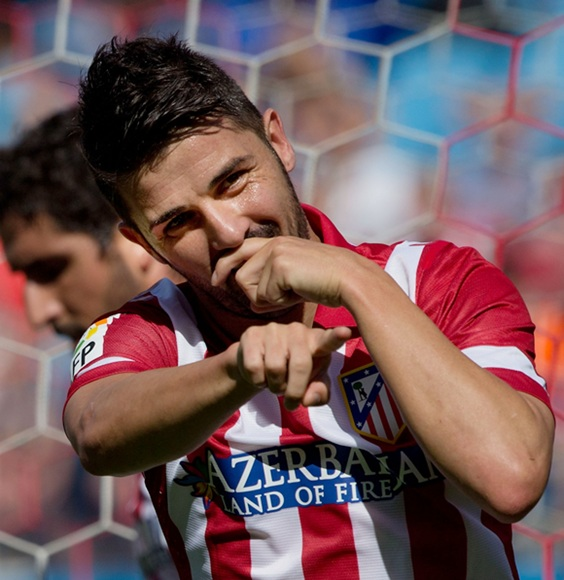 David Villa of Atletico de Madrid celebrates