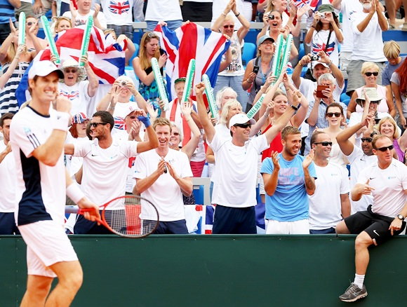 Andy Murray of Great Britain celebrates