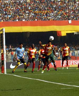 East Bengal team and supporters