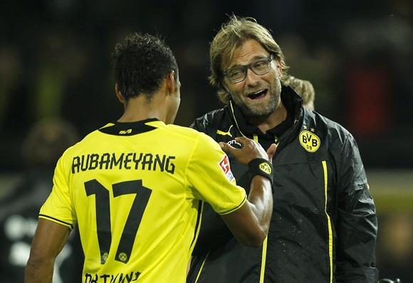 Borussia Dortmund's coach Juergen Klopp congratulates Pierre-Emerick Aubameyang
