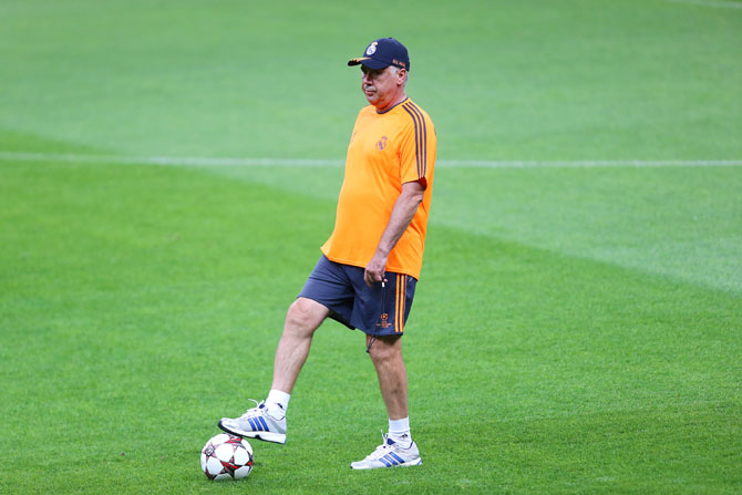 Real Madrid's coach Carlo Ancelotti attends a training session ahead