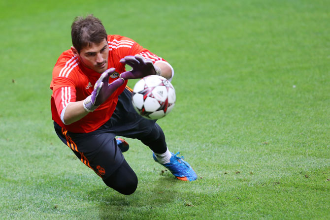 Iker Casillas of Real Madrid attends a training session