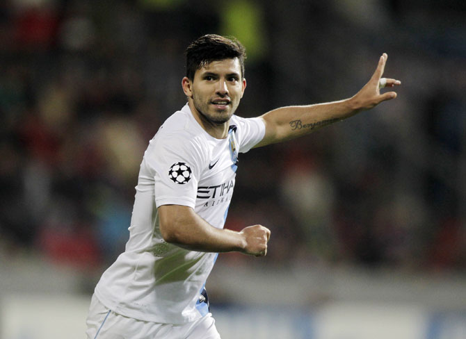 Manchester City's Sergio Aguero celebrates scoring a goal against Viktoria Plzen