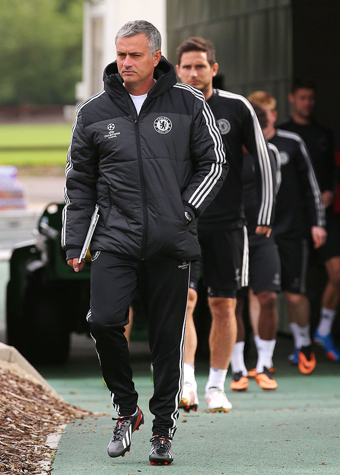 Jose Mourinho of Chelsea arrives for a training session in Cobham training centre on Tuesday