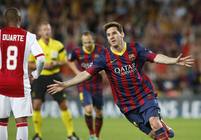 Barcelona's Lionel Messi celebrates scoring a goal against Ajax