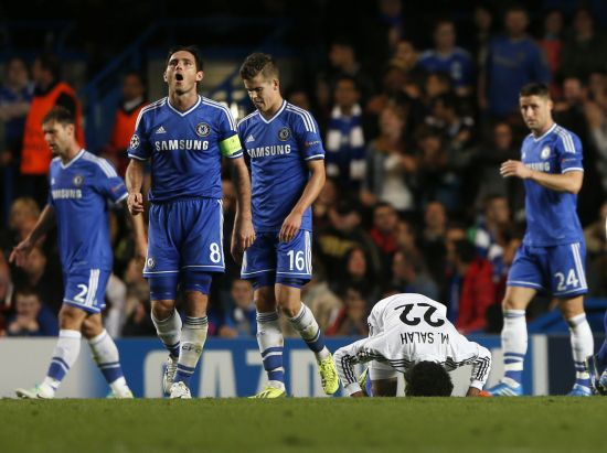 Chelsea players reacts after losing the game against FC Basel