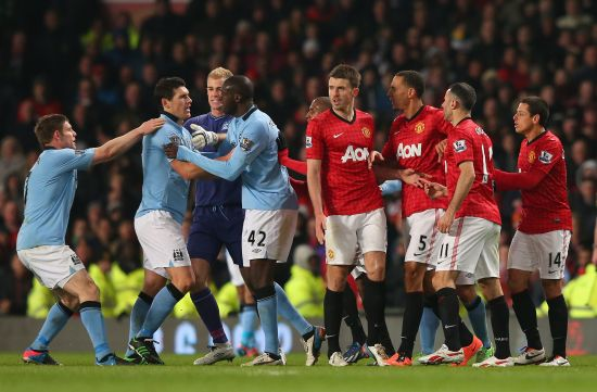 Manchester United and Manchester City players during a match