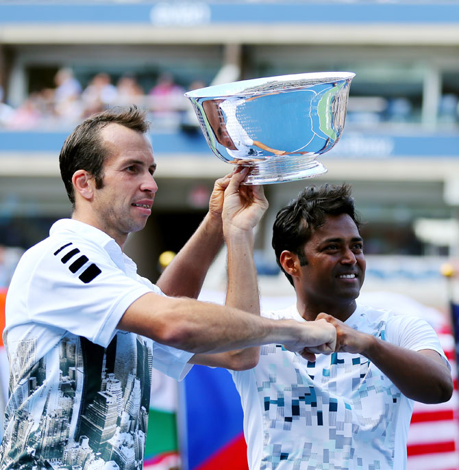 Radek Stenaek and Leander Paes with their US Open trophy