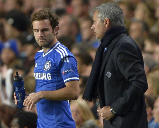 Juan Mata and Jose Mourinho