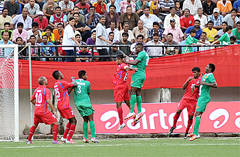 Action from the match between Salgaocar and Churchill Brothers on Saturday