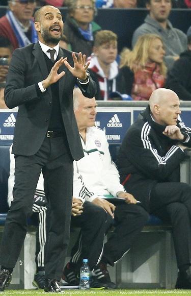Bayern Munich's coach Pep Guardiola reacts