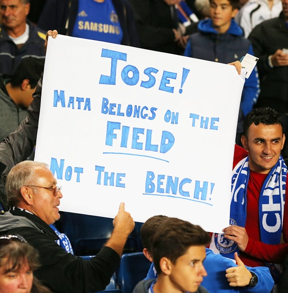 Chelsea fans hold up a sign forJose Mourinho