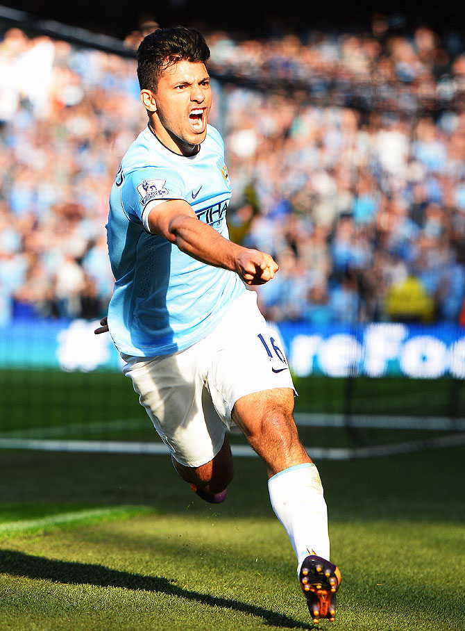 Sergio Aguero of Manchester City celebrates after scoring his first goal against Manchester City at the Etihad Stadium on Sunday