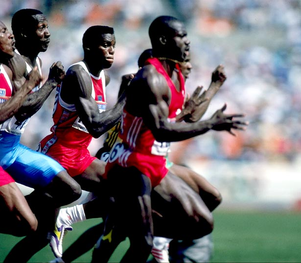 Ben Johnson of Canada pushes ahead of the field to win the men's 100m final in the 1988 Summer Olympic Games