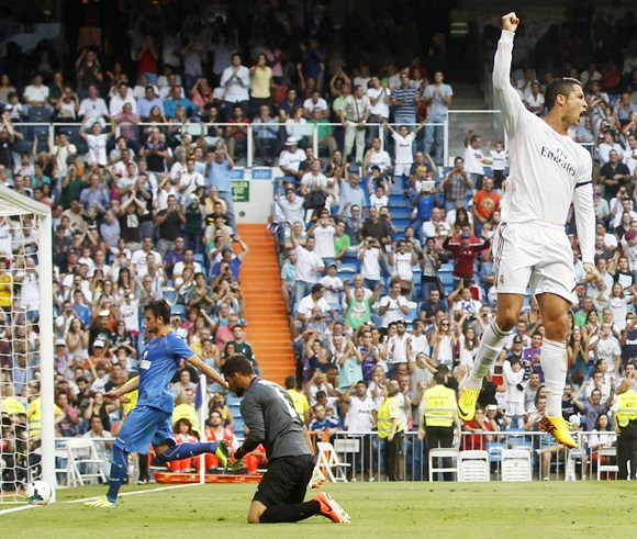 Real Madrid's Cristiano Ronaldo celebrates