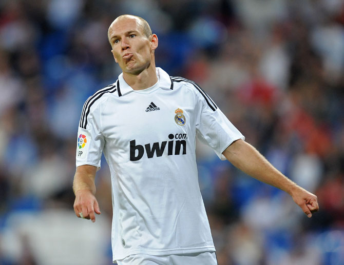 Arjen Robben of Real Madrid reacts